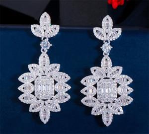 Vintage Women Long Earrings Dropping Drop Stud Earrings Set Wedding Bridal Jewelry CZ Zircon Cubic Zirconia Earrings Fashion Designer Gift