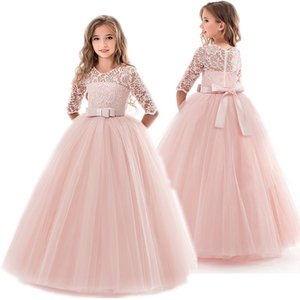 Teenage Girls Dress Summer Children's Clothing Party Elegant Princess Long Tulle Baby Girls Kids Lace Wedding Ceremony Dresses 201202
