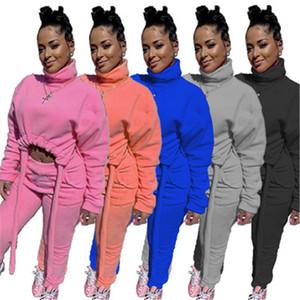 Женщины сгущает 2шт наборы моды Trend с длинным рукавом Высокая шея Trawsstring Tops Tops костюмы дизайнер женский зимний флис вскользь свободные трексеи