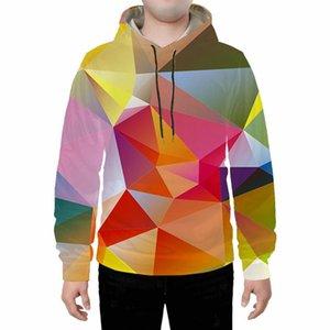Мужские дизайнеры 3D Hoodie Men Color Stereo Geometry 3D Цифровая печать Мужская Harajuku хип-хоп Мужская одежда