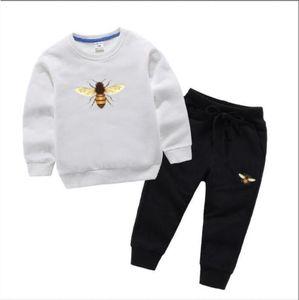 Niños niño lujoso diseñador moda muchacha ropa ropa deportiva otoño bebé sudaderas con capucha 2 piezas / conjuntos niños traje para niños chándal de algodón