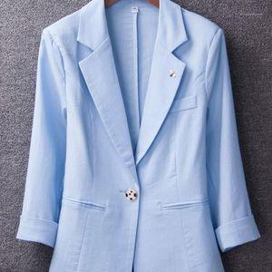 Nouveau 2020 Spring Summer Mode Mince Trois Quarter Blazers Femmes Plus Taille Manteaux Bureau Lady Porter Blazer Feminino1
