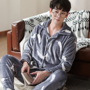 Winter Pajamas For Men Thick Flannel Sleepwear Suit 2 Pcs Pyjama Homme Warm Casual Home Clothing Pijama Hombre 201023