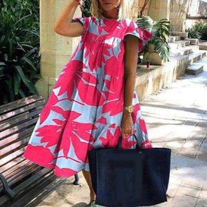 Women Casual A Line Dress Women Casual Summer O Neck Short Sleeve Floral Print Large Hem A Line Dress Summer Solid Midi
