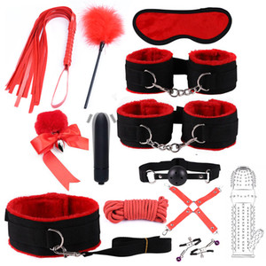 Nylon BDSM Sex Bondage Set Handcuffs Nipple Clamps Collar Gag Whip Rope Tail Anal plug Vibrator Couples Sex Toys for Adults Y201118