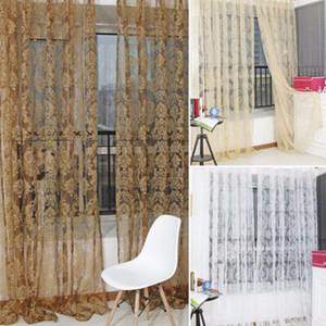 Retro Floral Floral Voile Puerta Ventana Panel de cortina Tulle Tulle Screen Screen Submenaje Sala de estar Cortinas de dormitorio para niños