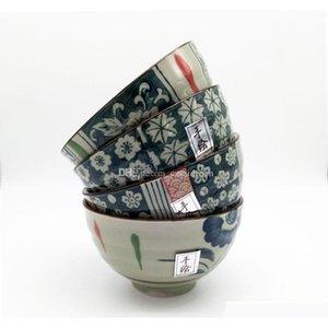 Vintage japonês porcelana arroz tigelas de vida asiático estilo de vida país design de flor 4,5 polegadas cerea jllbcx mywjqq