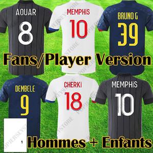 20 21 Maillot Lyon 2020 2021 أولمبيك ليونيس لكرة القدم جيرسي مايوه دي القدم OL قمصان كرة القدم ميل ميمفيس الرجال أطقم معدات
