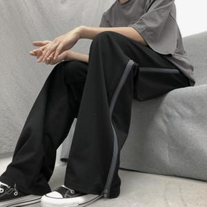 Ropa De Hombre 2020 Spring Autumn New Korean Trend Zipper Design Loose Wide-leg Straight Casual Trousers Mens Clothing