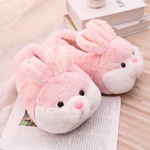 Women Winter Slippers Cute Pink Bunny Cartoon Design Warm Home Plush Head Silent Indoor Floor Adult Girl Lady House Shoes Q1125