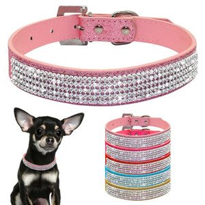 7 Colors New Bling small Dog Collar PU Leather Rhinestone Diamond Pet Puppy Cat collar Fashion Necklace dog collars S , M , L size