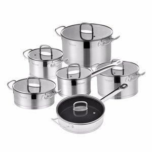 Juego de utensilios de cocina de Velaze Conjuntos de potpa de cocina de acero inoxidable de 12 piezas, inducción, cacerola, cazuela, con tapa de vidrio templado C0121