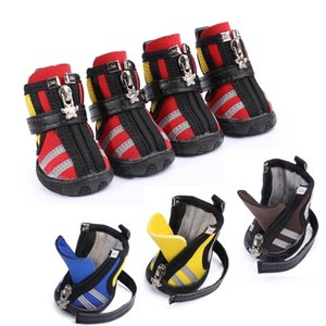 4 pcs lot New Casual Dog Shoes Fashion Breathable Mesh Fabric Running Dog Boots with Zippers Dog Shoes Booties All Season Use 201026