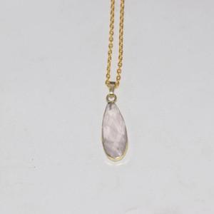Natural Rose Crystal Quartz pendant Necklace women Water drop Chakra Gold Bezel Handmade Pendulum stone chain necklace women