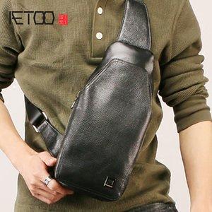Saco do peito de couro dos homens da moda de Aetoo, bolsa de ombro oblíqua do passeio ao ar livre de vaca, saco masculino multifuncional da padre