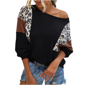 Winter Hoodie Women Dies Stitching Printed Leopard Print Round Neck Long-sleeved Top Streetwear Cartoon Sudaderas Hombre