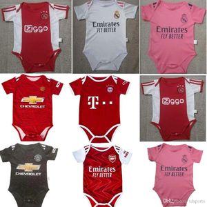 Ajax Baby Soccer Jersey Man UTD 2020 2020 2021 Bambin 6-18 أشهر كرة الرضع فرقة ارتداءها 20 21 ريال مدريد الزحف ملابس فوتبول