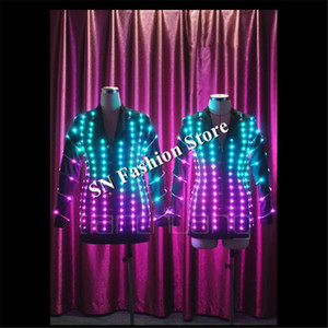 TC-101 Led luminous mens led jacket performance party clothes ballroom programmable dance costumes colorful light satge suit