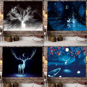 Jayi Black Starry Sky Deer Tapestry Tree Elk Night Scenery Art Decorative Wall Tapestries Hippie Boho Decor 209GT