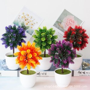 New 1Pcs Artificial Plants Bonsai Small Tree Pot Plants Fake Flowers Potted Ornaments for Home Decoration Hotel Garden Decor