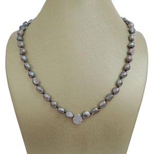 100% NATURE FRISCHWASSER BAROCKER PEARL KETTE graue Farbe PEARL Halskette-VERY NICE spangen 7,5-8,5 mm Baroque
