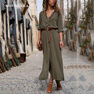 New Hot Fashion Button Long Dress Elegant Women Dresses Casual Work Dress Plus Size Pocket Slim Black Dresses Women Long Sleeves 210222