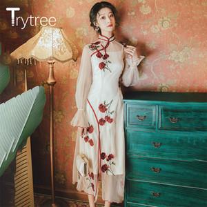 Trytree 2020 Spring Two piece set Casual Solid Long Vest + Mesh Dress Cheongsam Rose Embroidery Split Hem Set 2 Piece Set A1111