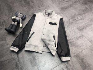 Kejia 2020 Outono / Inverno Nova Indústria Pesada Locomotiva Vento De Couro De Couro Que Stitching Plush Baseball Jaqueta Outerwear