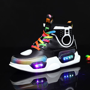 Children's LED lighting shoes USB charging high top colorful children's Board Shoes Boys and girls basketball casual high top lamp shoes