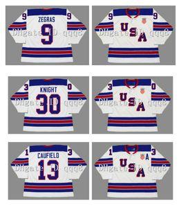 2010 2014 2016 equipe vintage usa jerseys 9 Trevor Zegras 13 Cole Cole Campo 30 Spencer Knight Hóquei Custom