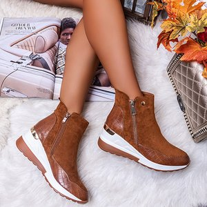 Plus Size Warm Plush Winter Boots Chunky Sneakers Ankle Boots Women Shoes Woman Zipper Buckle Thick Sole Platform Zapatos MujerZ1126