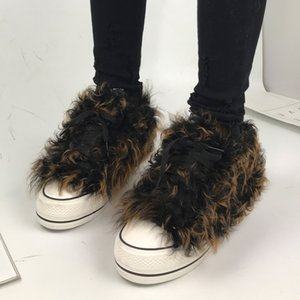 Front Lace Up Women Boots Hot Fur Decor Short Booties Round Toe Warm Plush Height Increasing Woman Shoes New J1203