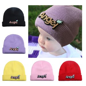 New Solid Color Versatile Letter Patch Baby Knitting Hat Autumn And Winter Warm Ear Protective Baby Cap