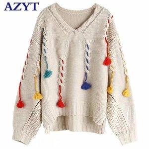Azyt Europa solta borla pulôver suéter outono inverno mulheres suéteres profundas vice-pescoço camisola jumpers mulheres 201222