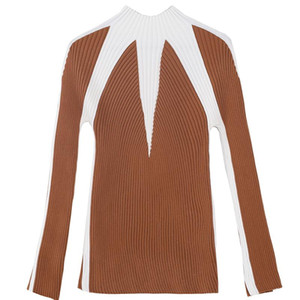 Half-High Collar Sweater 2020 New Autumn Winter Thickened Female Long-Sleeved Stretch Korean Striped Stitching Bottoming