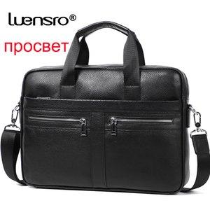Man Briefcases 100% Genuine Leather Men Bag Handbag Casual Male Laptop Bag Shoulder Crossbody Bag Bussiness Briefcase Leather LJ201012