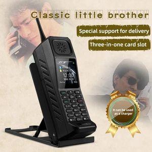 New Unlocked Classic Small Retro Mobile Cell Phone Loud Speaker Bright Flashligh Powerbank Camera Dual Sim Card MP3 FM Bluetooth Cellphone