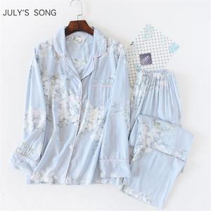 Juli-Syjjf-Frauen-Frauen 2 Stück Nachtwäsche Baumwolle-Pyjamas Set Blumendruck Einfache weiche lange Ärmel Frauen Herbst Winter Homewear T200707