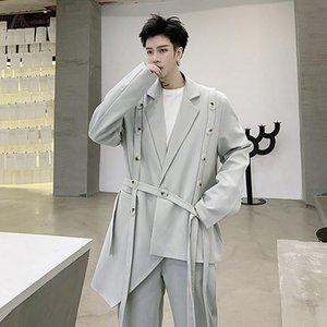 IEFB / Ropa para hombre 2020 Autumn Summre Fashion New Personalidad Vendaje Diseño de asimetría Traje + traje de marea Pantalón Dos piezas Set 9y1192