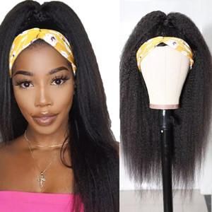 Kafa Peruk İnsan Saç Perulu Kinky Düz İnsan Saç Peruk Siyah Kadınlar Için Tam Makine Yapılan Peruk
