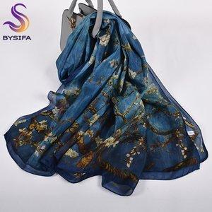 Orange Blue Winter Women Pure Silk Scarf Shawl Spring Fall Fashion Large Elegant Classical Long Scarves Wraps Printed 180*110cm C1121