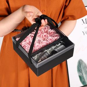 50pcs lot Packaging Box Wedding Favors Carton Hand-held Transparent PVC Gift boxes Creative Folding Flower Packaging Box