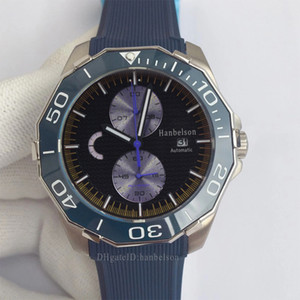 orologio di lusso mens Mechanical watch ceramic Bezel montre de luxe Luminous Green face sports Automatic Rubber wristwatch 43mm