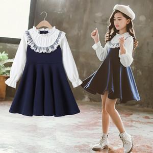 Kids Dresses for Girls 6 7 8 9 10 11 12 Years Autumn Casual Dress Children Kids Girl School College Blue Princess Formal Dresses