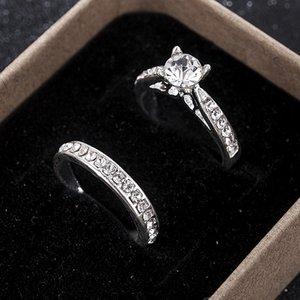 2pcs / set Charm Aşıklar Halka Femme Moda Takı Kadınlar Erkekler Anel Bijoux Kristal Nişan Düğün Rings