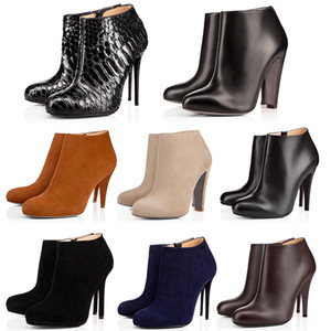 Red Bottom High Heels Bundle Women Leather Classic Shoes Studded Spike Round Toe Outdoor Black Shoes Womens Wedding Party Lady Shoe With Box