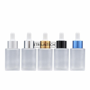 50pcs 30ml Frosted Glass Dropper Bottle with Black Gold Silver Drop 1oz Matte Glass E-liquid Drop Vials F3473