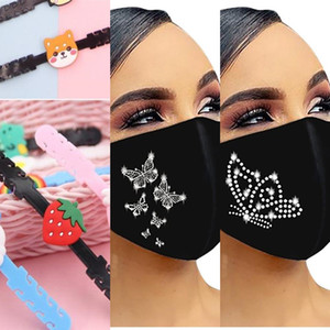 UC3WAU Factory Price Rhinestone Mask Bandana Washable Adult Printed Reusable 3 Gloves Co Mittens Butterfly Mouth Fashion Designer N Mkapu