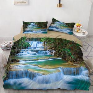 Установки постельных принадлежностей 2/3 кусочки природные пейзажи набор 3D печать водопад одеяла чехол двойной королевы королевского размера кровать (без листов)