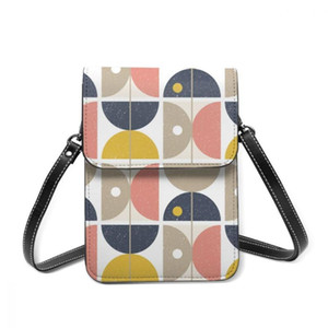 2021 Messenger Shoulder Straps Bag Retro Scandinavian Semicircles And Circles Card Holders Pocket Handbag Ladies Phone Purse